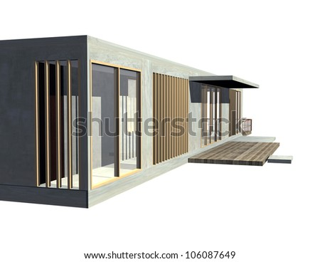 Modern Architecture entrance view. 3D rendered Illustration isolated on white