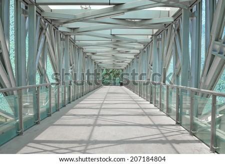 Modern architecture footbridge  - stock photo