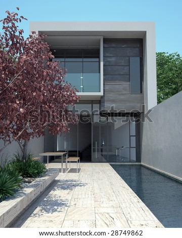 Modern architecture in sunny setting (3D render) - stock photo