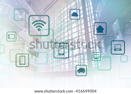 modern architecture interior and wireless communication network, Internet of things (IoT), abstract image visual - stock photo