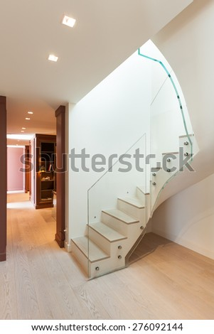 modern architecture, Interior, beautiful house, staircase view - stock photo
