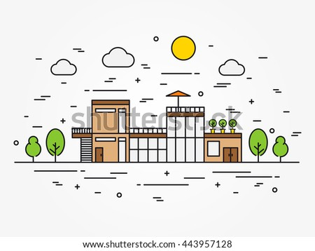 Modern architecture landscape illustration. Exterior house architecture line art concept. Cottage architecture (mansion) landscape linear graphic design. - stock photo