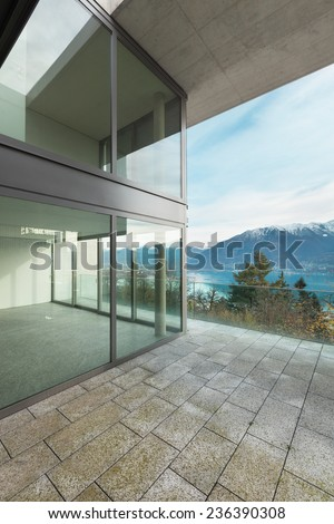 Modern architecture, luxury apartment, view from the terrace - stock photo