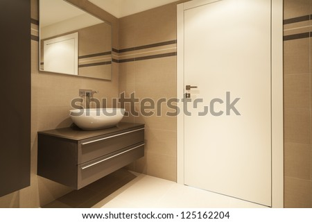 modern architecture, new apartment, bathroom - stock photo