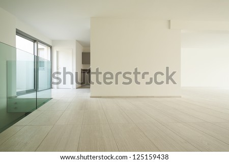 modern architecture, new empty apartment - stock photo
