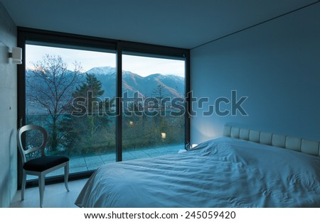 Modern architecture, nice apartment, comfortable bedroom - stock photo
