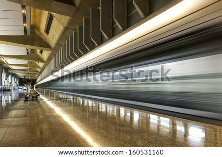 Modern Architecture of Hong Kong airport, walkway and roof - stock photo