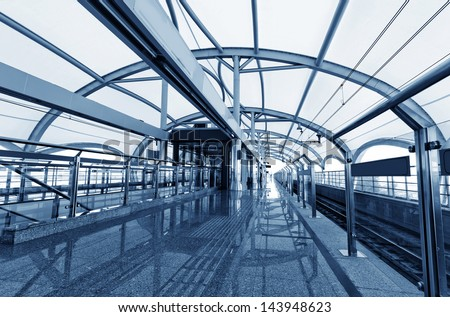 Modern Architecture of light rail station in shanghai china.