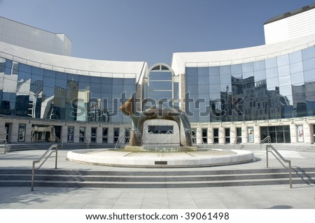 modern architecture of slovak national theater in Bratislava, Slovakia - stock photo