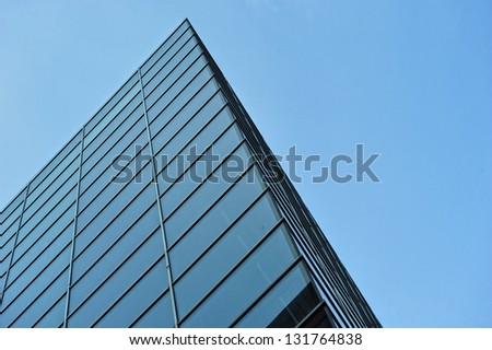 modern architecture of steel and glass buildings in colors
