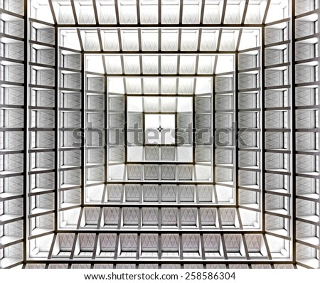 Modern architecture, Poland. Details of building in Warsaw.  - stock photo
