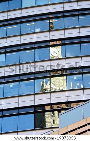 Modern architecture, Poland. Details of skyscraper in Warsaw. - stock photo