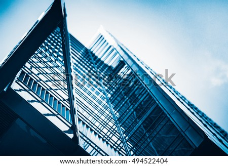 Modern architecture tone in blue tone