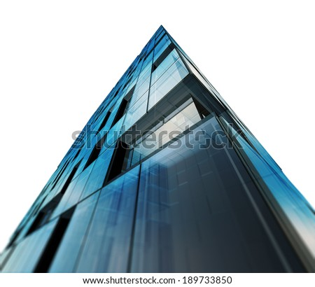 Modern architecture white isolated. Building design and 3d model my own - stock photo