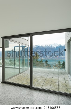 Modern architecture, wide apartment, detail room with windows - stock photo
