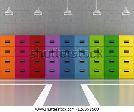 Modern archive modern with colorful filing cabinets - rendering - stock photo