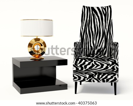 modern armchair and table  on white background - stock photo