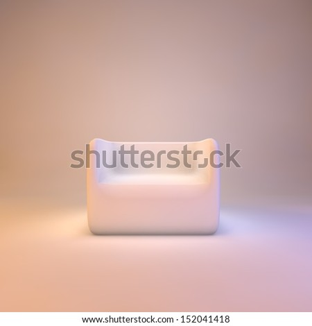 Modern armchair on warm light background, 3d render - stock photo