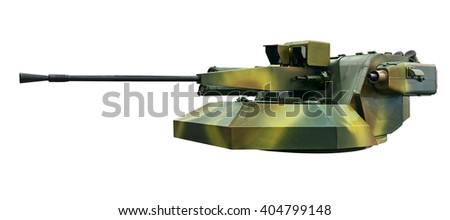 Modern armored turret isolated. Clipping path included. - stock photo
