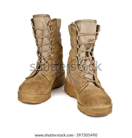 modern army boots isolated on white background stock photo - stock photo