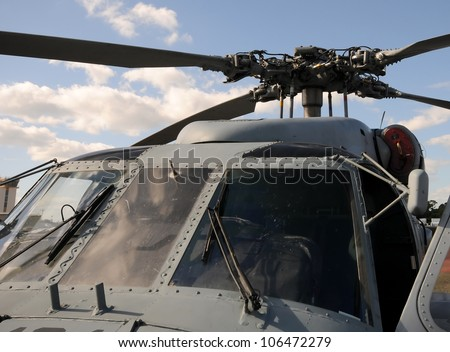 Modern army helicopter front canopy view & Modern Army Helicopter Front Canopy View Stock Photo 106472279 ...