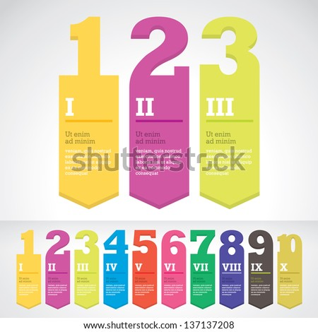 Modern arrow banner style step up options stickers. Vector illustration. For workflow layout, diagram, number options, web design, infographics - stock photo