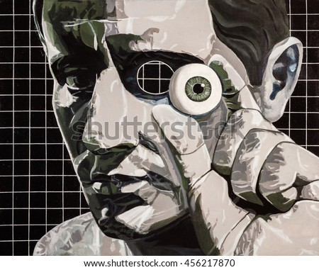 Modern art abstract portrait of a man holding his eyeball.