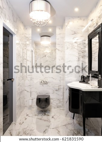 Modern Art Deco Bathroom Interior Design With Gray And White Marble Tiles,  Black Furniture And