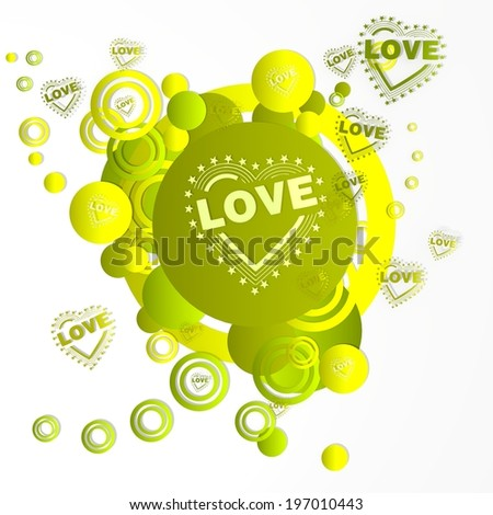 modern art heart with stars sign in front of a happ party art background with flying heart with stars icons isolated on white background