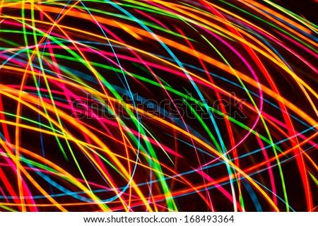 Modern art. Long exposure neon lights texture - stock photo