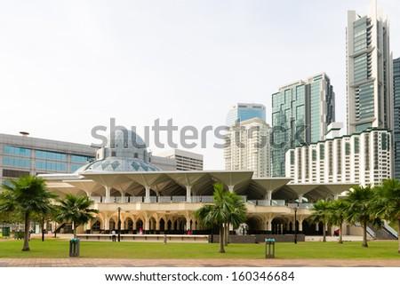 Modern As Syakirin Mosque (Masjid As Syakirin) in city center Kuala Lumpur, Malaysia.  - stock photo