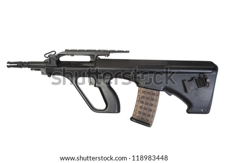 modern assault rifle isolated on a white background