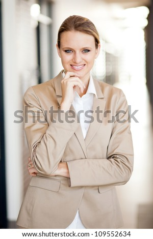 modern attractive young businesswoman half length portrait - stock photo