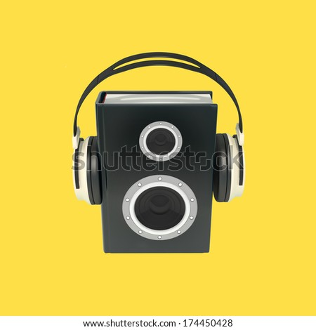 modern audio book conceptual illustration, high resolution 3d render isolated on white