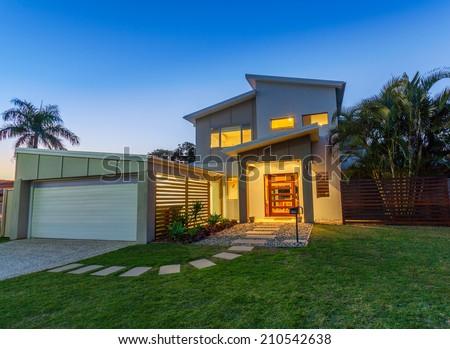 Modern australian home front at dusk - stock photo