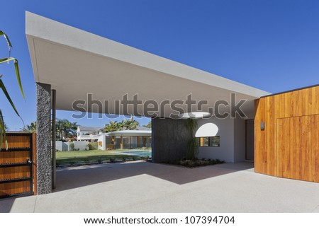 Modern Australian house front and entrance - stock photo