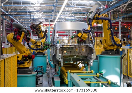 modern automated assembly line for cars - stock photo