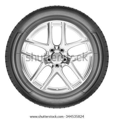 Modern automotive wheel isolated on white - stock photo