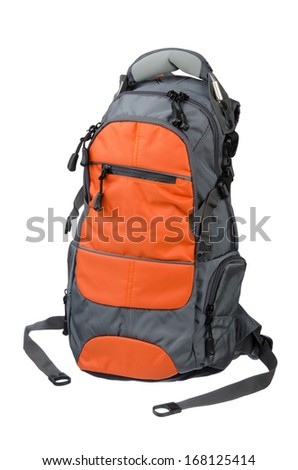 Modern Backpack closeup shot over white background - stock photo