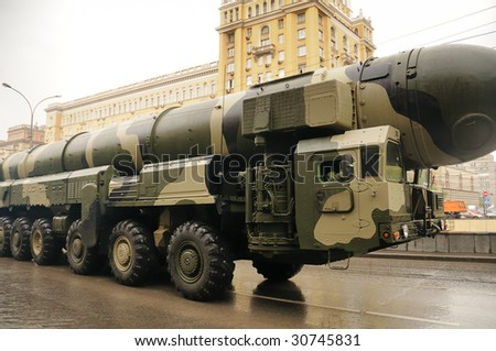 Modern ballistic nuclear rockets on rehearsal of military parade in Moscow, Russia - stock photo