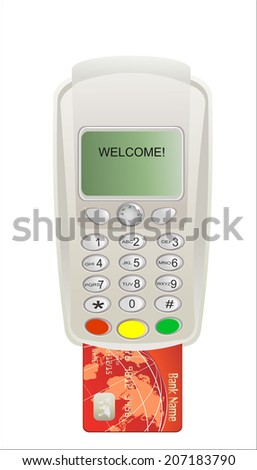 Modern bank terminal on the white. Credit card swipe through terminal for sale - stock photo