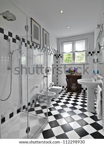 modern bathroom black and white - stock photo