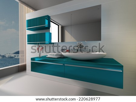 Modern Bathroom 3D Interior Rendering