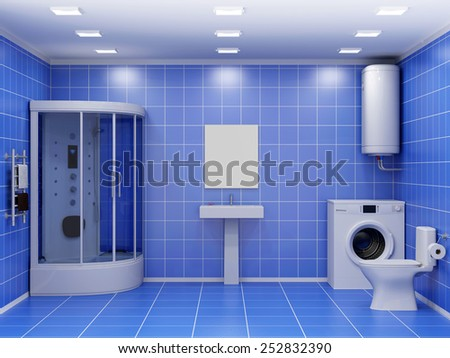 Modern Bathroom 3D Interior with Appliance. 3D Rendering - stock photo