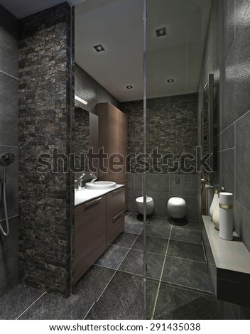 Modern bathroom in black tile, mosaic and brown furniture. With shower, closet, toilet and bidet. 3D render.