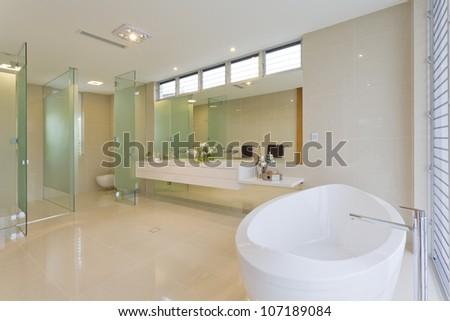 Modern bathroom in luxury Australian house - stock photo