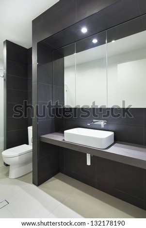 Modern bathroom in stylish Australian home - stock photo