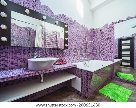 Modern bathroom in stylish flat - stock photo