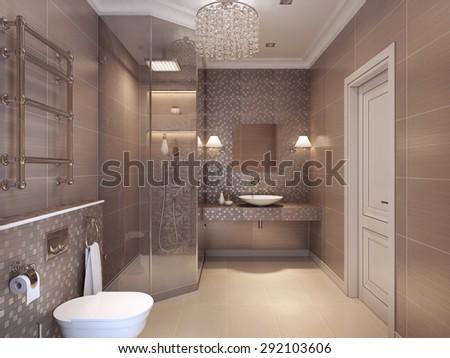 Modern bathroom art deco style shower stock illustration for Deco wc moderne