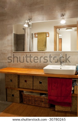 modern bathroom in warm colors - stock photo